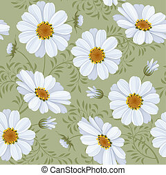 Floral seamless pattern - daisy - Retro flower seamless...