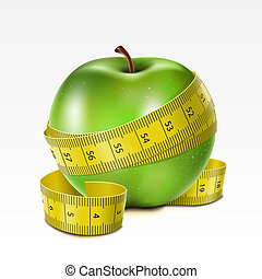Apple with centimeter - Green apple with centimeter on a...