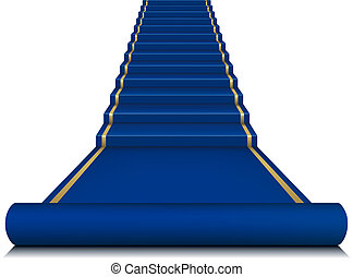 Blue carpet with ladder