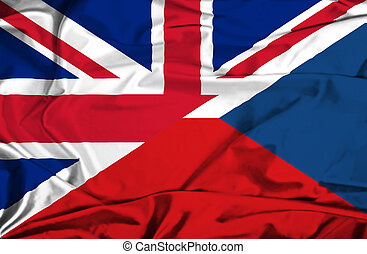 Waving flag of Czech Republic and UK