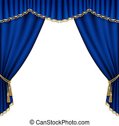 Theater stage. Mesh. - Theater stage with blue curtain....