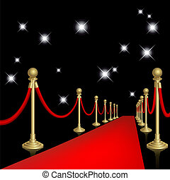 Red carpet with guard. Clipping Mask. Mesh.
