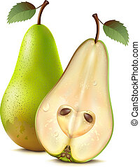 Pears - Two pears on a white background. Mesh.