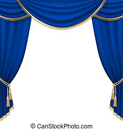 Theater stage Mesh - Theater stage with blue curtain Mesh...
