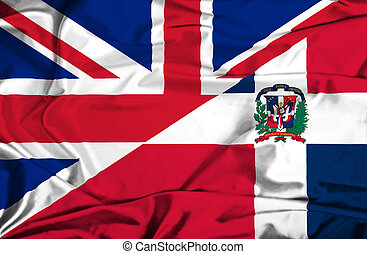 Waving flag of Dominican Republic and UK