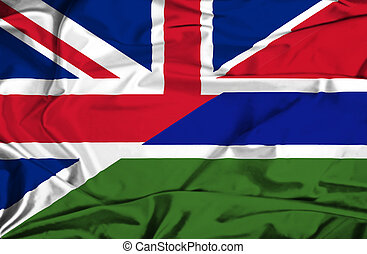 Waving flag of Gambia and UK