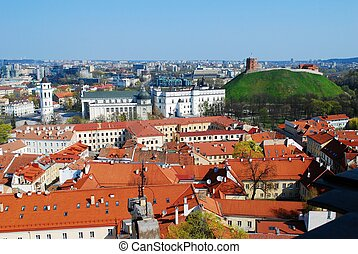 Center of the old European Vilnius city in Lithuania -...