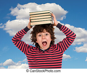 Funny student with books on the head