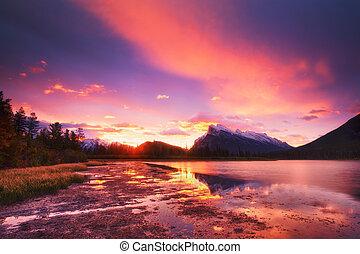 Vermilion Lakes - Sunset above Vermilion Lakes, Banff...