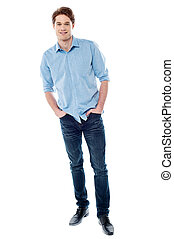 Stylish young man isolated over white - Handsome young guy...