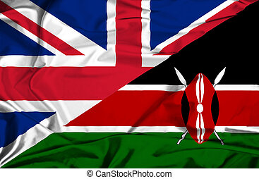 Waving flag of Kenya and UK