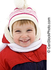 Smiling baby in winter outerwear