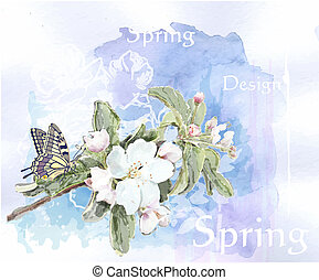 cherry blossoms in full bloom  and butterfly