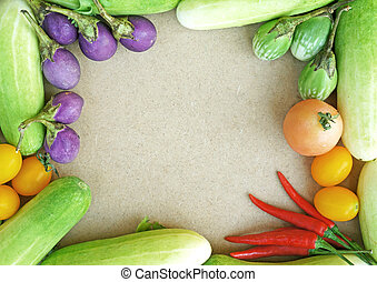 野菜, フレーム, カラフルである
