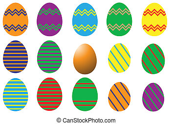 Eggs - A selection of differently decorated easter eggs on a...