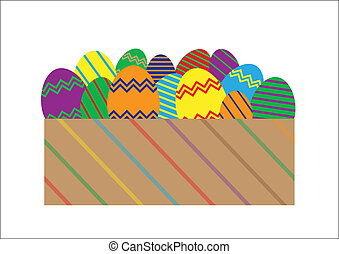 Easter Eggs in Box - A selection of easter eggs in a...