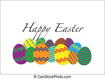 Easter Eggs - An easter greeting card image isolated on a...