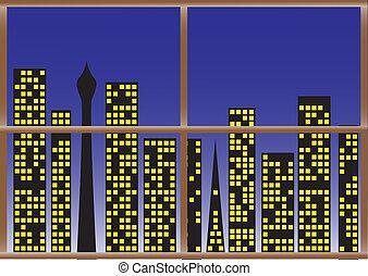 City Night W:Lights - A cityscape through a wooden window...