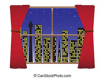 City Night W-Lights Curtains & Stars - A cityscape seen...