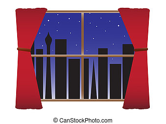 City Night No Lights Curtains & Stars - A view of a blacked...