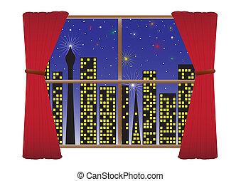 City Night W-Lights Curtains(detail) Fireworks & Stars - A...