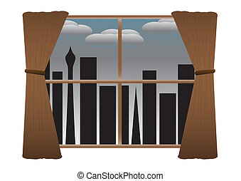 CityScape Night No Lights Curtains Rainclouds - View of a...