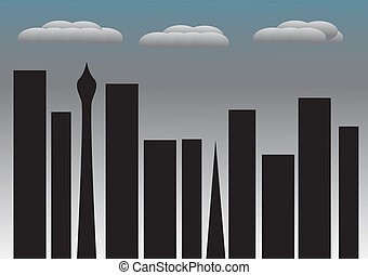City Night No Lights Curtains Rainclouds - Cityscape on a...
