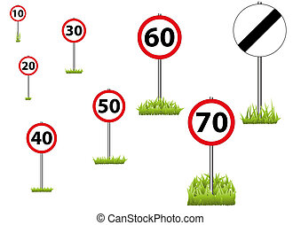 57-Road and 30 Sign - A selection of speed limit roadsigns...