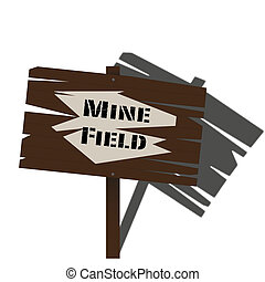 Print - An aged and worn mine field sign with a shadow...