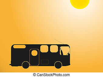 77-Camper in Sun - A silhouette of a camper van at dusk in...