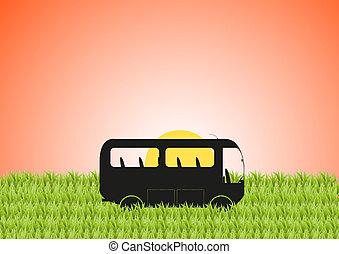 Minibus in Grass Sun - A silhouette of a camper van in a...