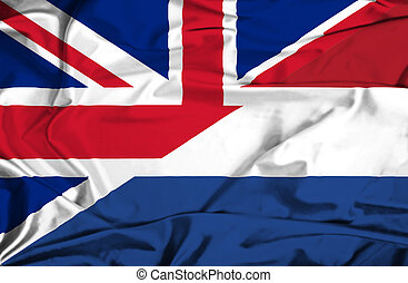 Waving flag of Netherlands and UK