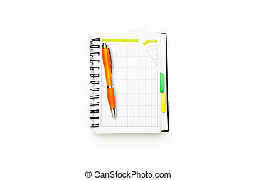 open schedule with ring binder and orange ball pen, isolated on white.
