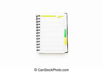 open schedule with ring binder, isolated on white