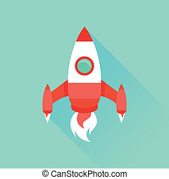 Vector icon in flat style - start up and launch Trendy...
