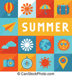 Vector summer poster in flat style