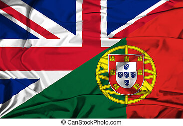 Waving flag of Portugal and UK