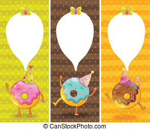 Happy Birthday card background with cute donut. Vector...