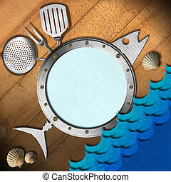 Seafood Menu with Metal Porthole - Restaurant seafood menu...