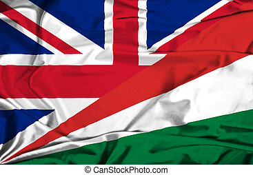Waving flag of Seychelles and UK