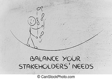 balancing your stakeholders' needs: funny character juggling...