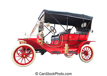 Red Clasic Car - Luxury vintage car isolated on to white...