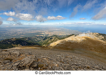 Panoramic view from Olympus mountain in Greece