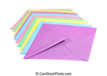 Mail Envelops - Many colorful mail envelops arranged in a...