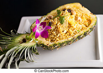 Thai Pineapple Fried Rice - Freshly prepared pineapple fried...