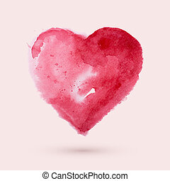 Watercolor heart, vector illustration - Art paints...