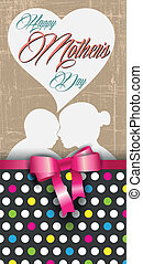 happy mother's day, polka dots and ribbon greeting card