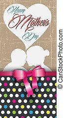 happy mothers day, polka dots and ribbon greeting card