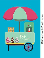 ice cream booth with big umbrella, design elements.vector...