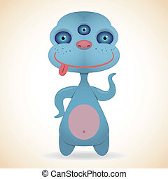 Three-eyed blue monster - Cartoon funny three-eyed blue...